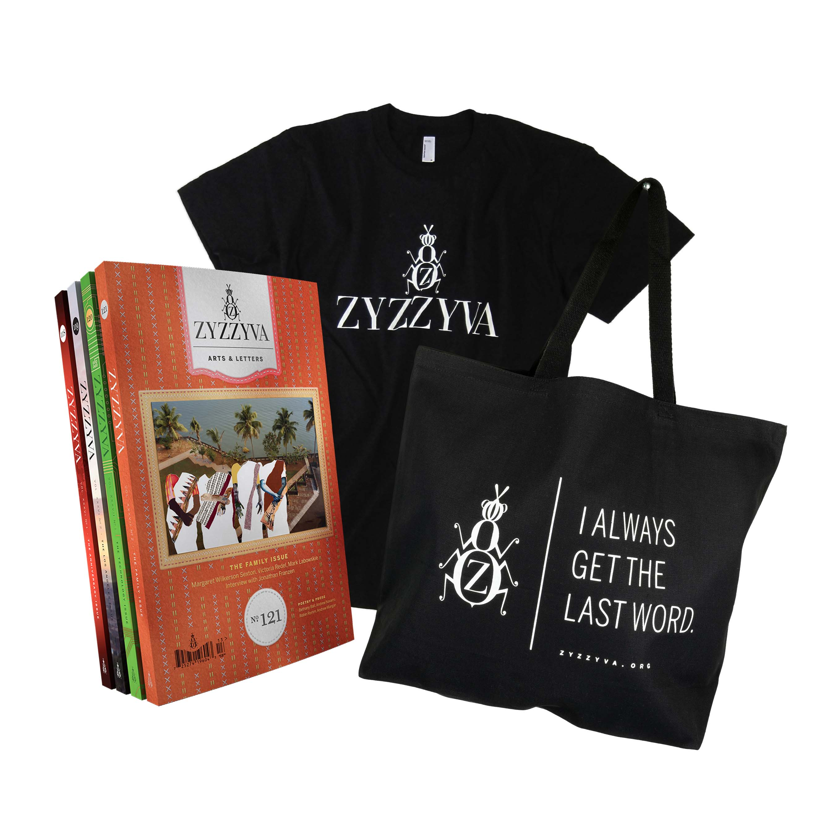 ZYZZYVA Essentials Bundle: T-Shirt, Tote Bag, and Subscription