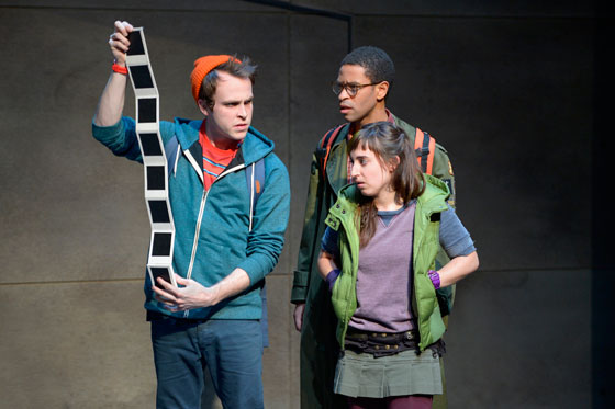 "Gabriel King (left), Chad Goodridge and Jeanna Phillips in ""Troublemaker, or The Freakin Kick-A Adventures of Bradley Boatright"" at the Berkeley Rep (photo courtesy of kevinberne.com)."
