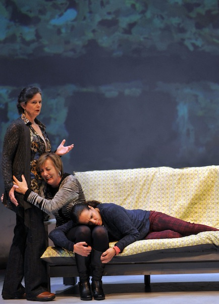 """Sasha (Anne Darragh, left), Willa (Julia Brothers), and Magz (Lauren Spencer) in """"Our Practical Heaven"""" (photo by David Allen)."""