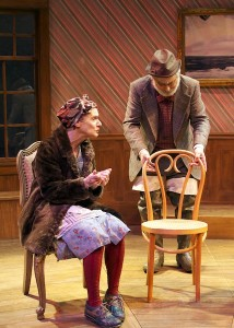 "Tamar Cohn and David Sinaiko in the Cutting Ball Theater's ""The Chairs"" (photo by Sarah Roland)."
