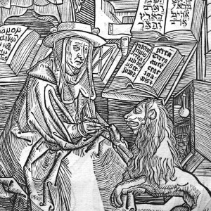 "Detail from a Albrecht Dürer woodcut from St. Jerome's ""Correspondence"" (1497)"
