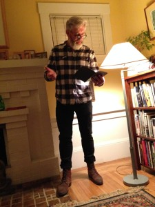 John Mercer at a Home Story Delivery Service reading in Oakland.