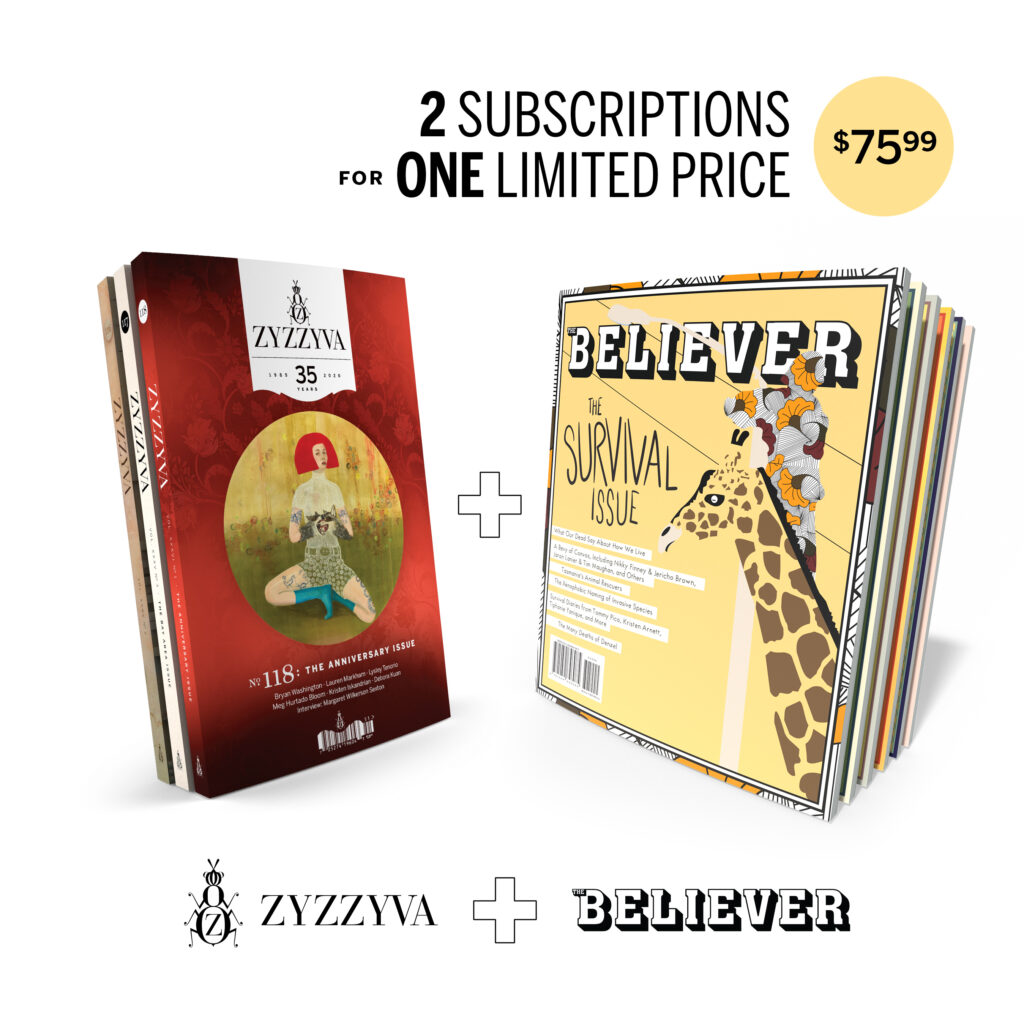 ZYZZYVA + The Believer Magazine: 2 subscriptions for one limited price. $75.99