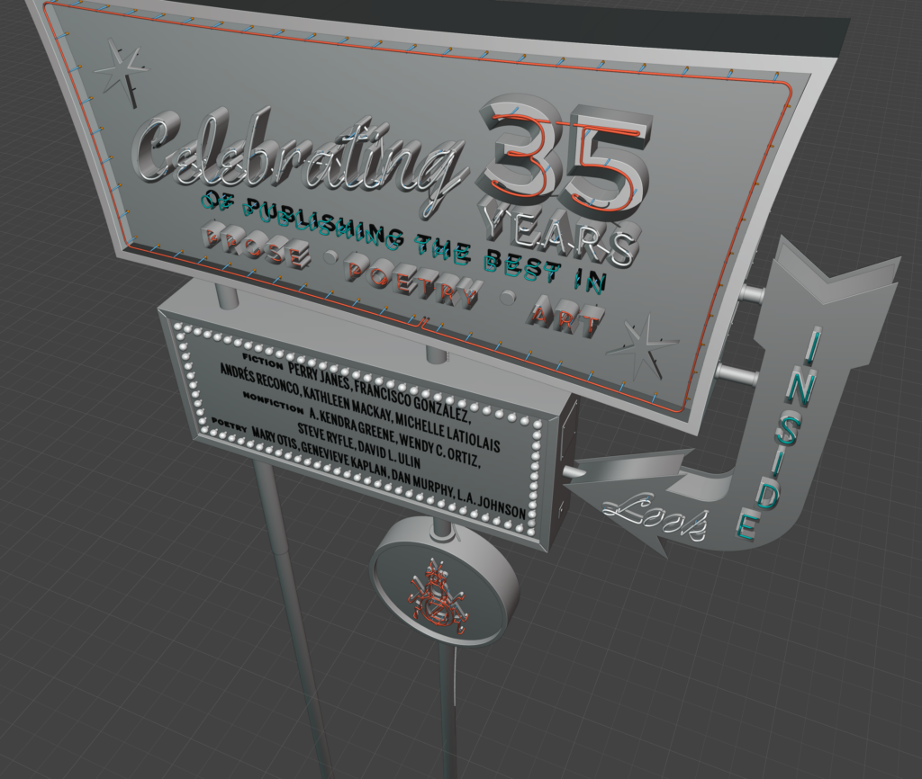 Final 3D model of The Los Angeles Issue sign, without textures or lighting