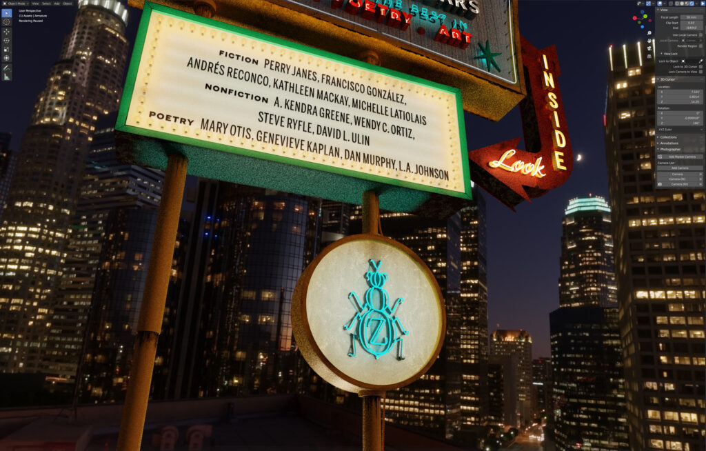 No. 119: 3D viewport of The Los Angeles Issue sign at night with HDRI of downtown Los Angeles in background